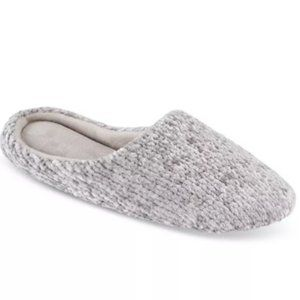 NWT Charter Club Chenille Slip On Slippers Grey L